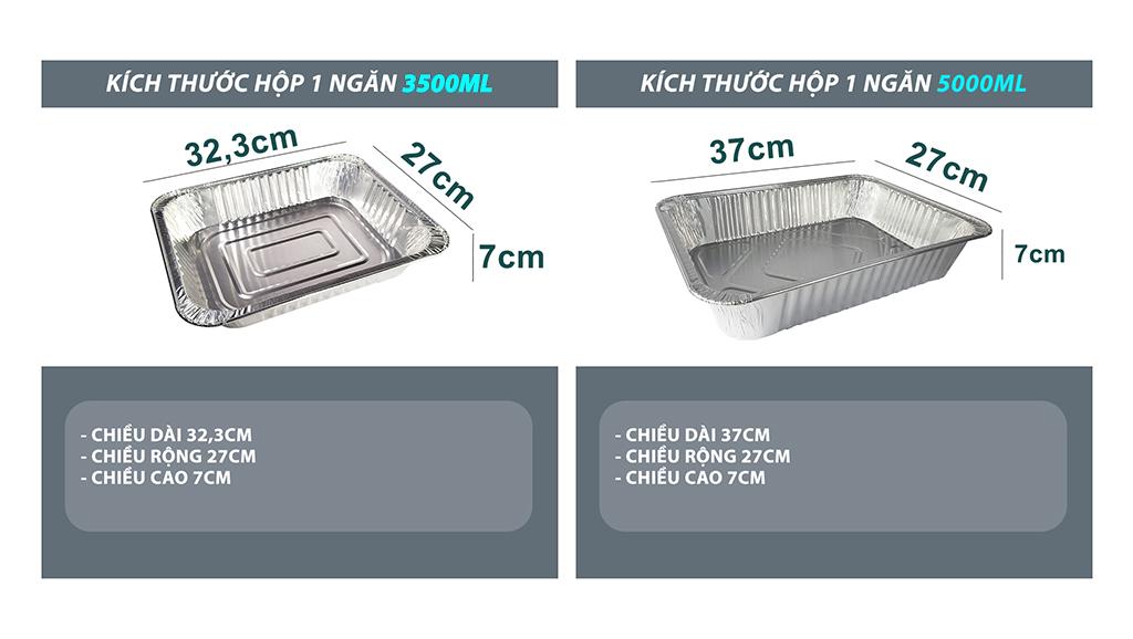 Khay nhôm 3500ml và 5000ml phù hợp để đựng 1 Set hải sản lớn